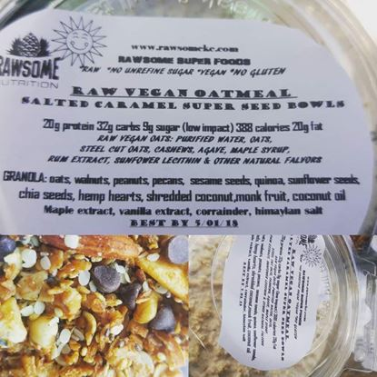 Picture of Raw Vegan Oatmeal Cups with Salted Caramel Super Seed granola